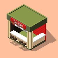 sushi bar isométrico vetor