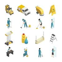 Cleaning service isometric icons vector