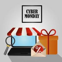 Cyber Monday. Laptop, gift box and email vector