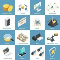 iconos isométricos de criptomoneda blockchain