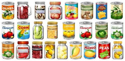 Set of food in cans and jars  vector