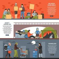 Homeless people horizontal banners vector