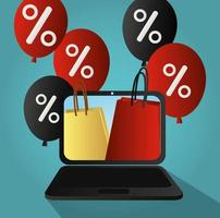 Cyber Monday. Shopping bags, laptop and discounts