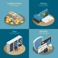 Blockchain cryptocurrency isometric 2x2