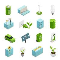iconos isométricos de ecología de energía verde
