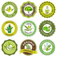 Tea tree emblem set vector