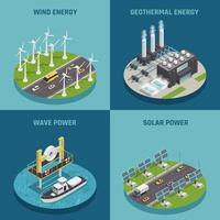 ecología de energía verde isométrica