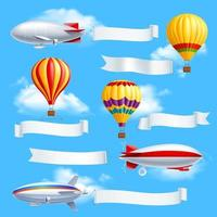 Dirigible airship set vector