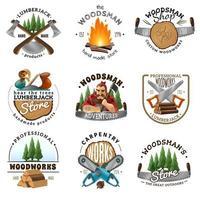 conjunto de emblemas de leñador vector