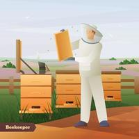 Farmer With Bees vector