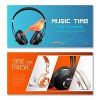 banners horizontales de auriculares vector