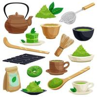 Matcha tea Japanese traditions ceremony set vector