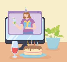 Online party. Birthday celebration on computer