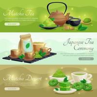 Matcha tea horizontal banners vector