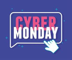 Cyber Monday. Clicking lettering on blue background