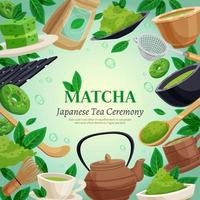 Matcha tea background vector