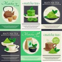 Matcha tea poster set vector