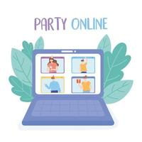 Online party. Laptop video call with people celebration