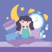 Girl with sleep disorder, medicine, clock, and moon