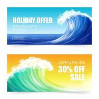 Big wave sale banners vector