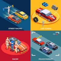 Street racing drift isometric 2x2 vector