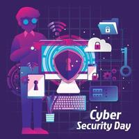 Cyber Security Protection Day  vector