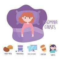 Insomnia causes disorder.  vector