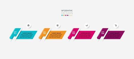 Presentación moderna de infografías de 4 pasos. vector