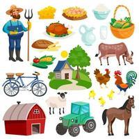conjunto de estilo de vida rural de granja de campo
