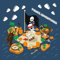 Pirates isometric composition vector