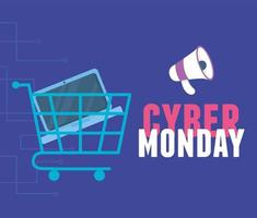 Cyber Monday. Shopping cart with laptop and megaphone