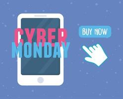 Cyber Monday. Smartphone clicking buy now button