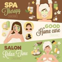 Woman morning routine banners vector