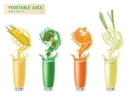 Realistic fresh vegetable juice set vector