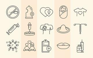 Sexual health. Awareness medical prevention icons