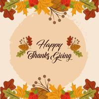 Happy Thanksgiving day. Autumn leaves foliage card