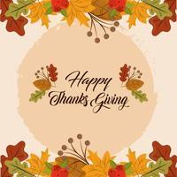 Feliz día de acción de gracias. tarjeta de follaje de hojas de otoño