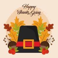 Feliz día de acción de gracias. sombrero de peregrino, bellotas y hojas