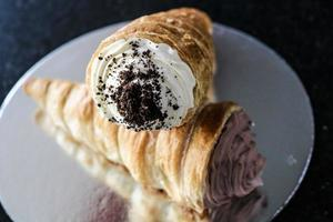 Baked pastry on plate