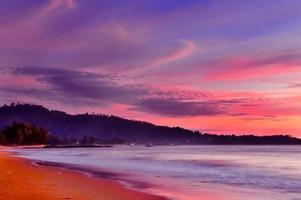Purple sunset beach viwe .Phanga Thailand