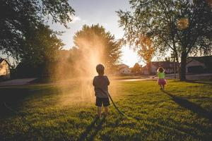 Playing with the garden hose
