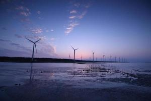 Wind turbines by the sunset, Gaomei Wetland, Taichung, Taiwan photo