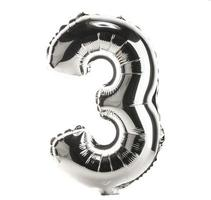 Chrome balloon font part of full set of numbers, 3