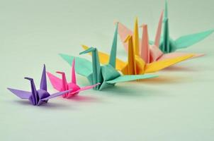 Colorful Origami birds, recycling paper