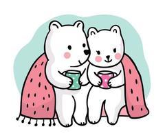 Cute polar bears drinking coffee together