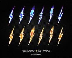 Lightning bolt icon collection vector