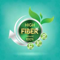 Food fiber for health and wellness concept badge