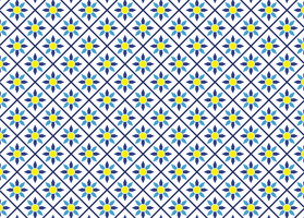 Blue and Yellow Floral Tile Pattern