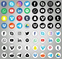 jeu d'icônes de médias sociaux vecteur