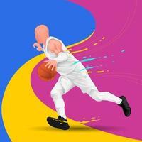 Man dribbling basketball background  vector